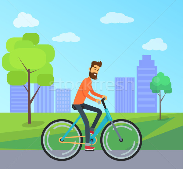 Man on Bicycle in Park Vector Illustration Stock photo © robuart