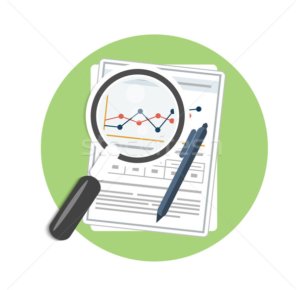 Stock photo: Magnifying glass, pen and chart
