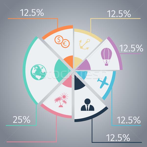 Utazás infografika sablon kördiagram tétel ikonok Stock fotó © robuart