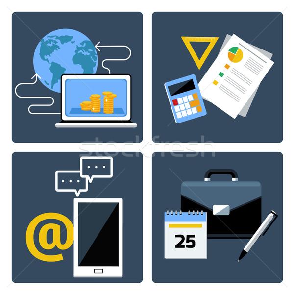 Ekereskedelem üzlet közösségi média szett online bankügylet Stock fotó © robuart