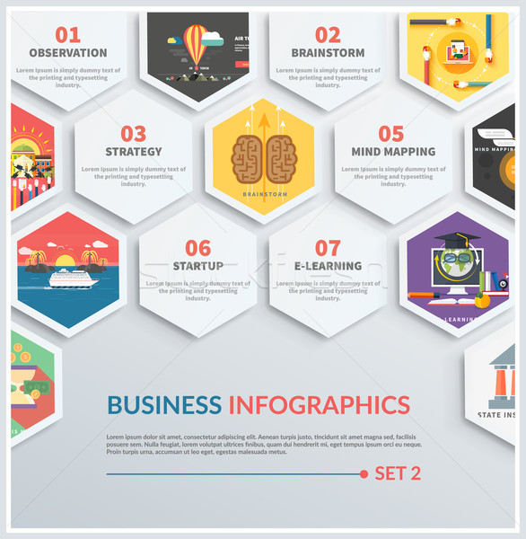 Infographic of brainstorm, strategy, start up Stock photo © robuart