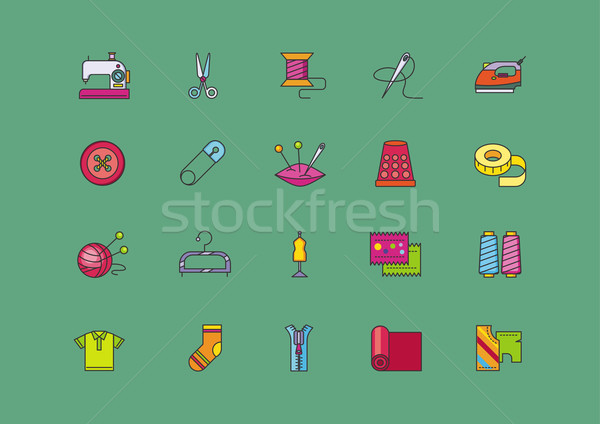 Set Icons of Creative Sewing Flat Style Stock photo © robuart