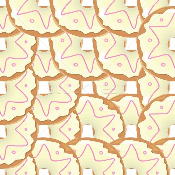 Fánk végtelenített textúra minta aranyos fánkok Stock fotó © robuart