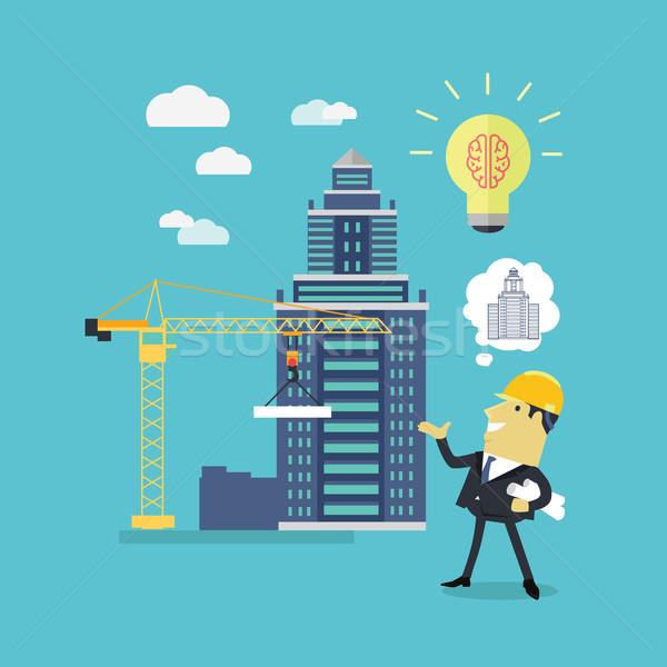 Uitvoering ideeën architect geslaagd helm blauwdrukken Stockfoto © robuart
