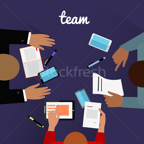 Workspace Team Design Flat Concept Stock photo © robuart