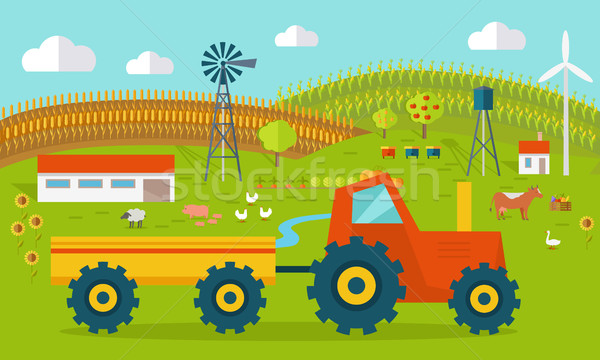 Eco Farm Conceptual Vector in Flat Style Design.   Stock photo © robuart