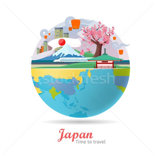 Япония путешествия плакат туризма дизайна мира Сток-фото © robuart