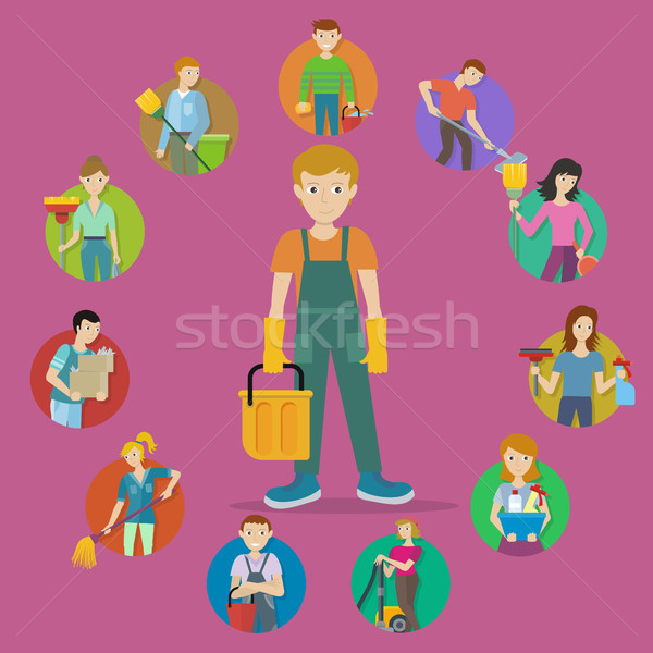 Szett avatar takarítás szolgáltatás férfi női Stock fotó © robuart