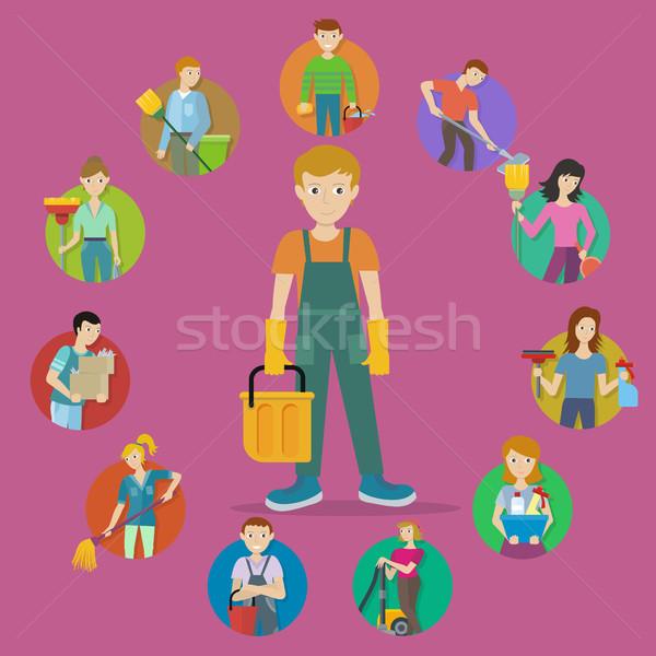 набор Аватара очистки службе мужчины женщины Сток-фото © robuart