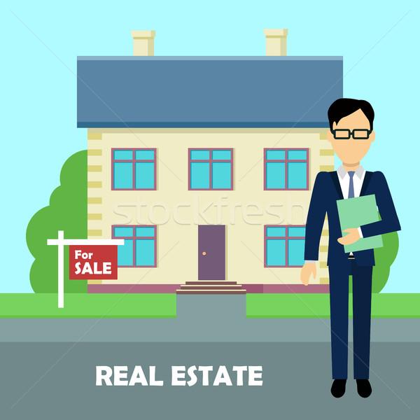 Nieruchomości pośrednik pracy budynku sprzedaży Zdjęcia stock © robuart