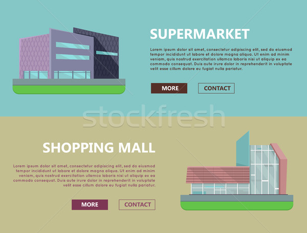 Einkaufszentrum Web Vorlagen Design Supermarkt Seite Stock foto © robuart