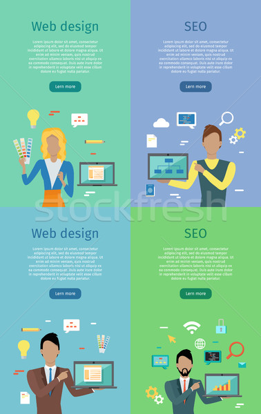 Web Design, SEO Conceptual Banner Posters Set Stock photo © robuart
