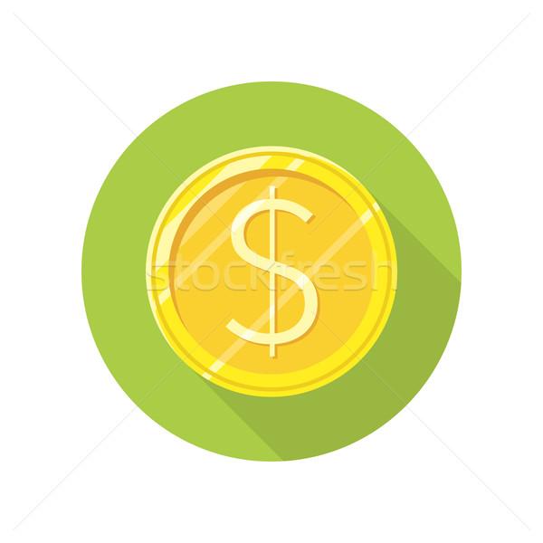 Dollar gouden munt vector icon stijl ontwerp Stockfoto © robuart