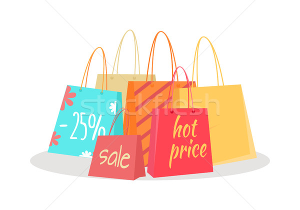 Set of Paper Bags with Text Sale, Percentage Price Stock photo © robuart