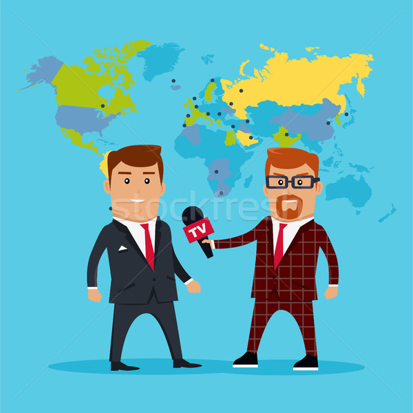 Rendkívüli hírek interjú világtérkép stílus terv tv Stock fotó © robuart