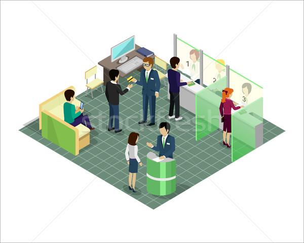 Bankowego usług wektora izometryczny projekcja banku Zdjęcia stock © robuart