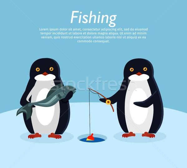釣り バナー ペンギン 動物 魚 ベクトル ストックフォト © robuart