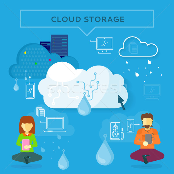 Cloud Storage Web Banner in Flat Style Stock photo © robuart