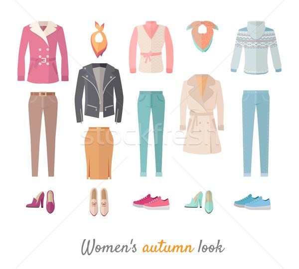 Women s Autumn Look Vector Concept in Flat Design Stock photo © robuart