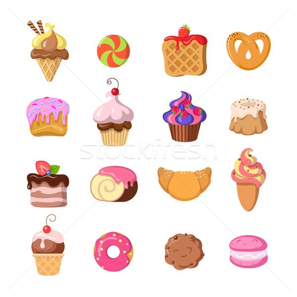Zestaw funny słodycze projektu wyroby cukiernicze lody Zdjęcia stock © robuart