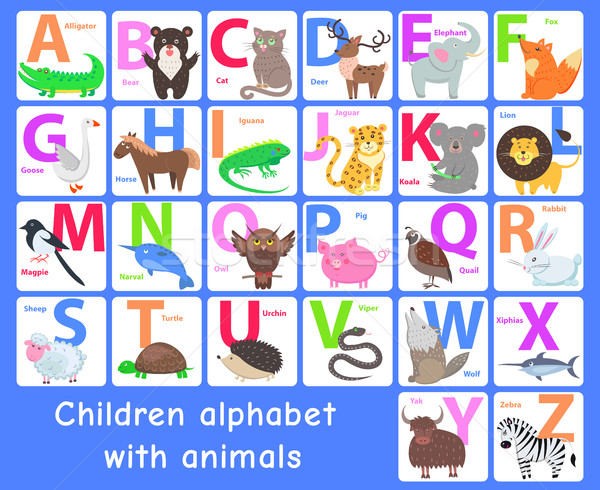 Enfants alphabet animaux vecteur lettres Photo stock © robuart
