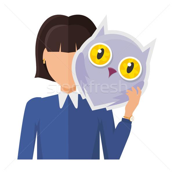Kobieta charakter kurtka Sowa maska strony Zdjęcia stock © robuart