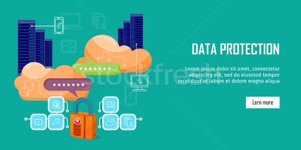 データ保護 ビデオ ウェブ バナー スタイル インターネット ストックフォト © robuart