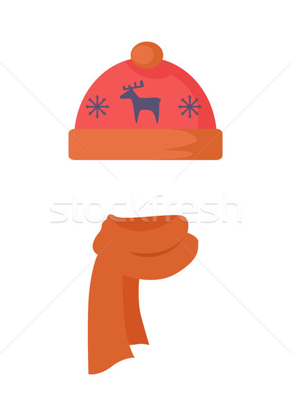 Hat. Red Headwear with Blue Deer and Snowflakes Stock photo © robuart