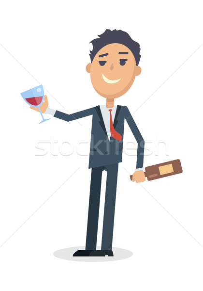 Man with Bottle of Wine Isolated on White. Vector Stock photo © robuart