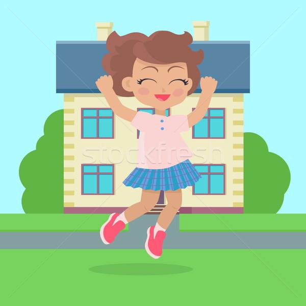 女の子 ジャンプ 喜び コテージ 家 愛らしい ストックフォト © robuart