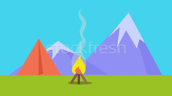 キャンプ テント 火災 山 スタイル ストックフォト © robuart