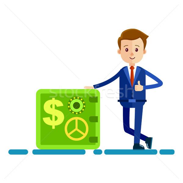 Cartoon zakenman veilig illustratie Blauw pak Stockfoto © robuart