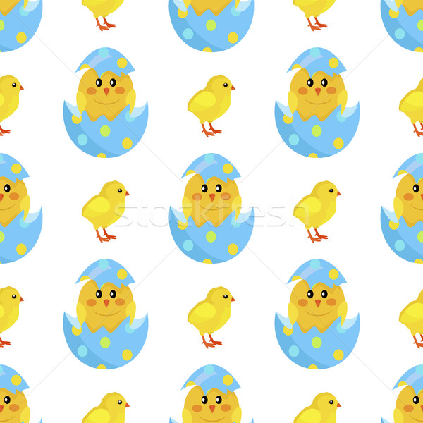Chicken and Newborn Chick Hatch from Shell Vector Stock photo © robuart