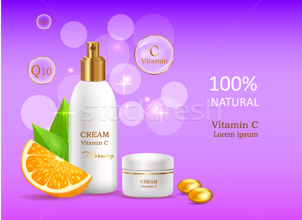 Natural Cream with Vitamin C in Glossy Tube Vector Stock photo © robuart