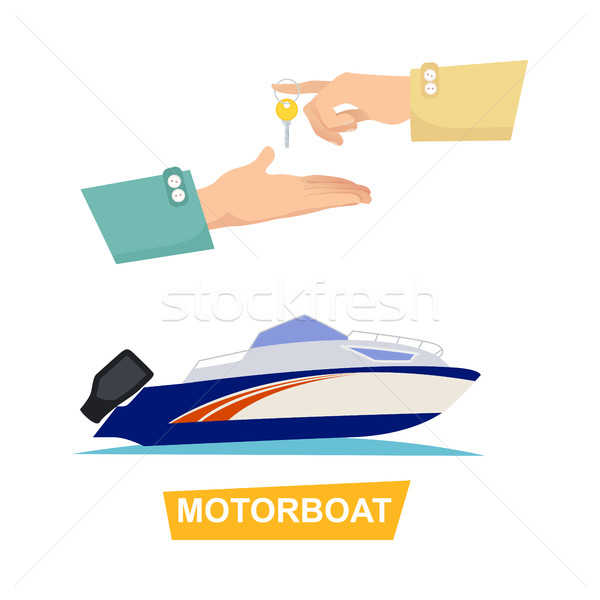 Buying Blue Speed Motorboat on White Background. Stock photo © robuart