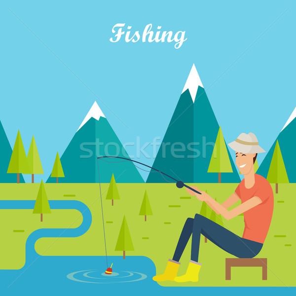 Pescaria camping jovem pescador moço lago Foto stock © robuart