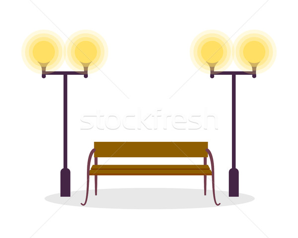 Wooden Standard Bench and Two Street Lamp Isolated Stock photo © robuart