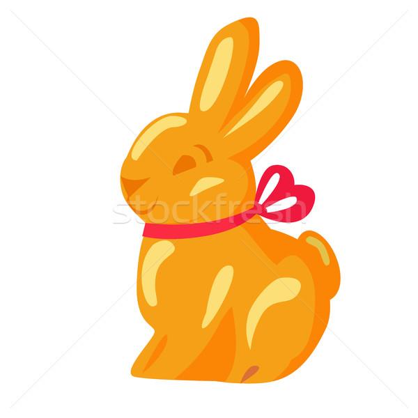 Narancs csokoládé nyuszi rózsaszín szalag rajzolt ikon Stock fotó © robuart