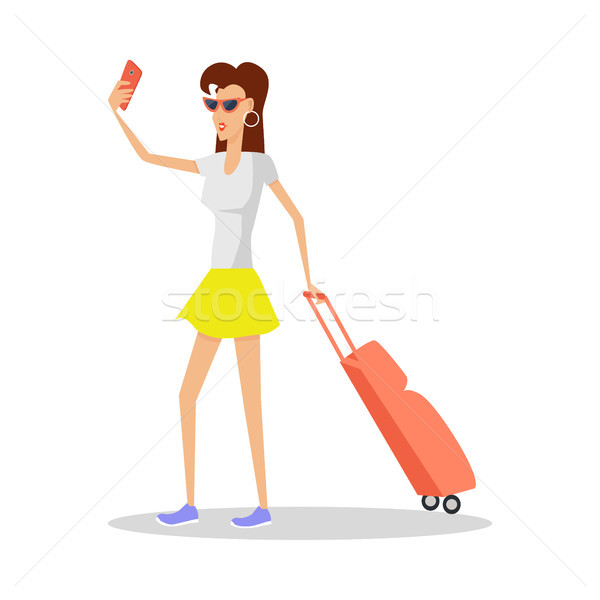 Summer Vacation Red Head Girl Travels with Luggage Stock photo © robuart