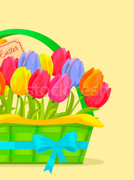 Happy Easter Festive Vector Concept with Tulips Stock photo © robuart
