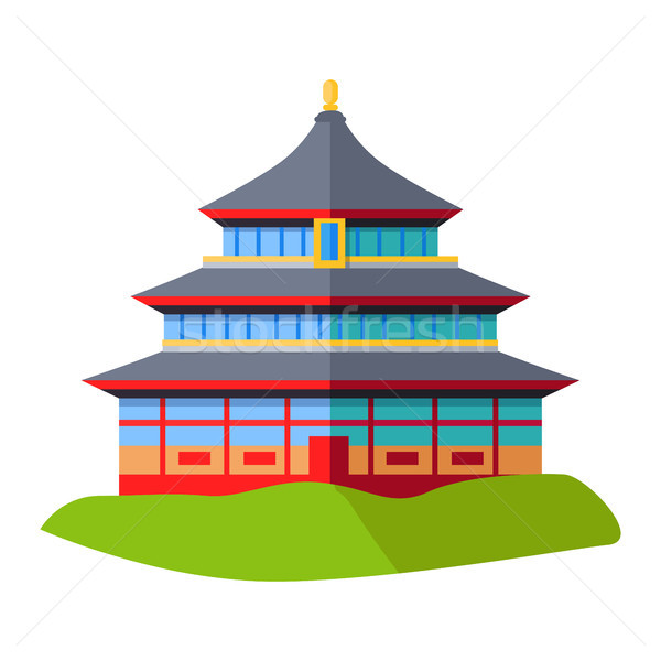 Oriental Building Isolated on Green Grass on White Stock photo © robuart