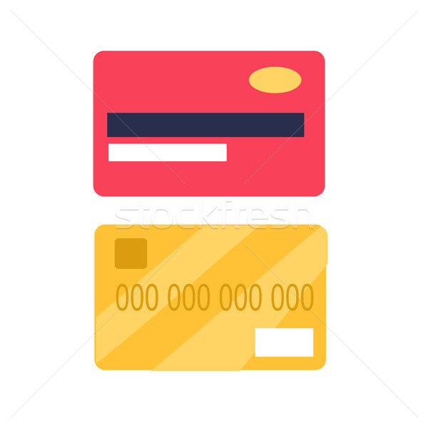 Credit Cards from Two Sides View Flat Vector Icon Stock photo © robuart