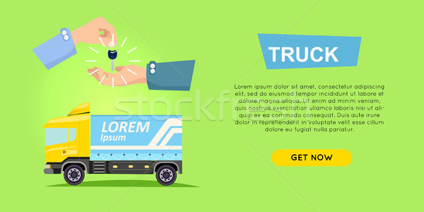 Renting Truck Online. Car Sale. Web Banner. Vector Stock photo © robuart