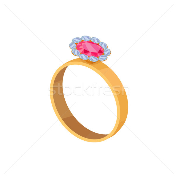 Stock photo: Gold Ring with Pink Stone Isolated Illustration