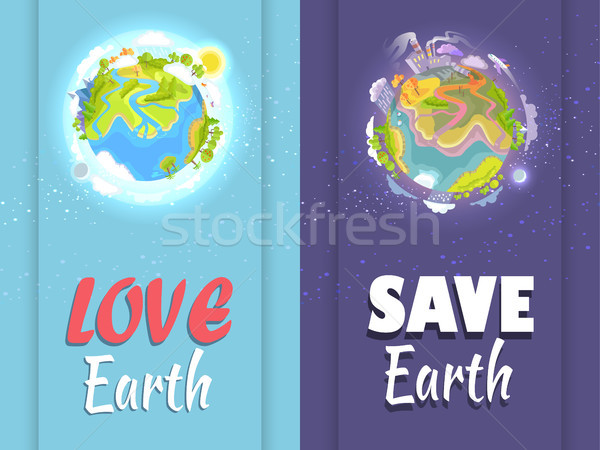 Love, Save Earth Card with Clean and Ill Planets Stock photo © robuart