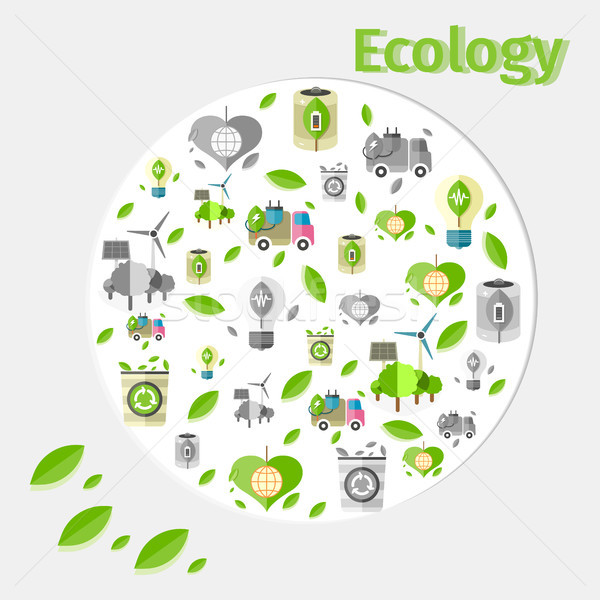 Ecology Poster with Small Green and Grey Icons Stock photo © robuart