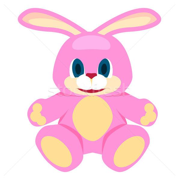 Adorable Pink Big Soft Bunny Isolated Illustration Stock photo © robuart