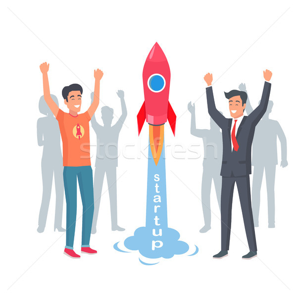 Take-off Rocket in Startup. Happy and Joyful Men Stock photo © robuart