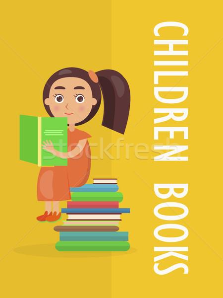 Kinderen boeken advertentie meisje cute jurk Stockfoto © robuart
