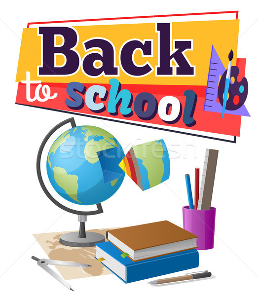 Back to School Sticker with Educational Supplies Stock photo © robuart